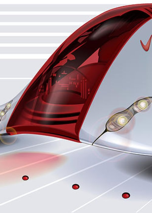 Nike Greeting Card featuring the digital art Nike Concept Car Ai by Brian Gibbs