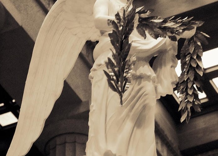 History Greeting Card featuring the photograph Nike Goddess Of Victory Sepia by Linda Phelps