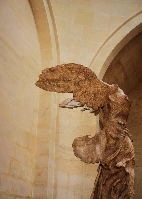 Winged Greeting Card featuring the photograph Nike Of Samothrace by JAMART Photography