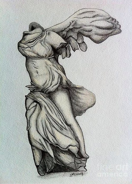 Nike Of Samothrace Greeting Card featuring the drawing Nike Of Samothrace by Shane Whitlock