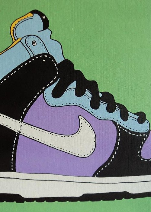 Shoe Greeting Card featuring the painting Nike Shoe by Grant Swinney