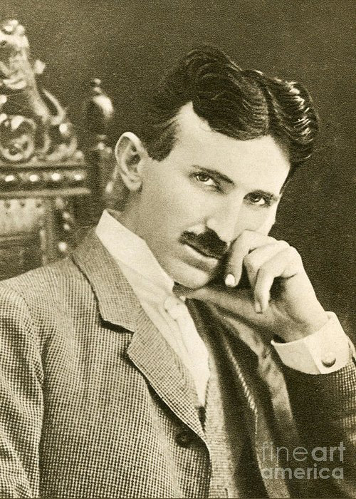 Science Greeting Card featuring the photograph Nikola Tesla, Serbian-american Inventor by Photo Researchers