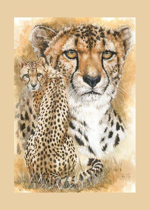 Cheetah Greeting Card featuring the mixed media Nimble by Barbara Keith