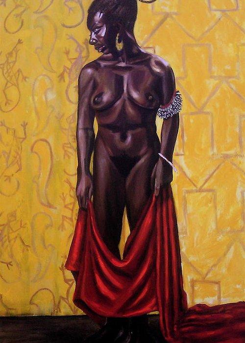 Ninasimone Greeting Card featuring the painting Nina Sea Line Woman by Malik Seneferu