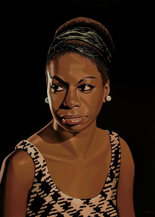 Nina Simone Greeting Card featuring the painting Nina Simone Painting 2 by Paul Meijering