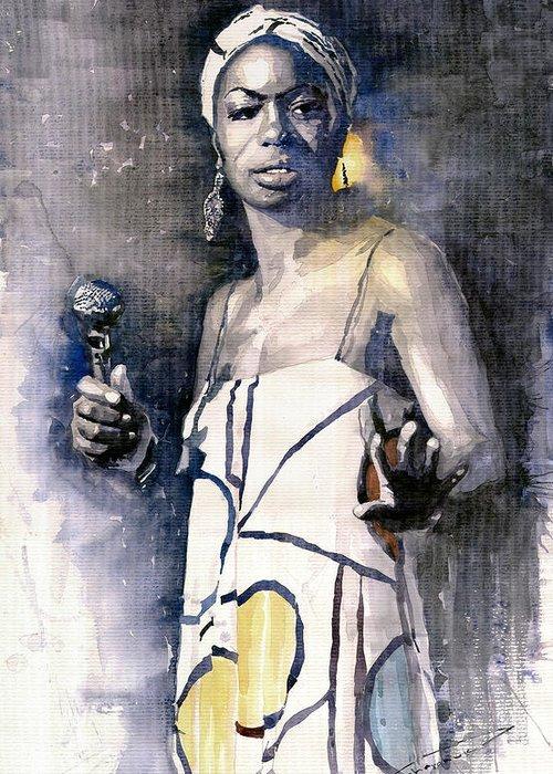 Watercolor Greeting Card featuring the painting Nina Simone by Yuriy Shevchuk