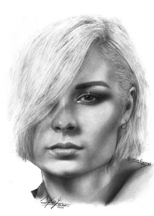 Portrait Greeting Card featuring the drawing Nina Nesbitt Drawing By Sofia Furniel by Jul V