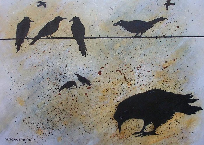 Crows Greeting Card featuring the painting Nine Is A Secret by Victoria Heryet