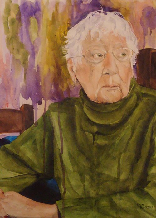 Portrait Greeting Card featuring the painting Ninety Years Young by Jean Blackmer