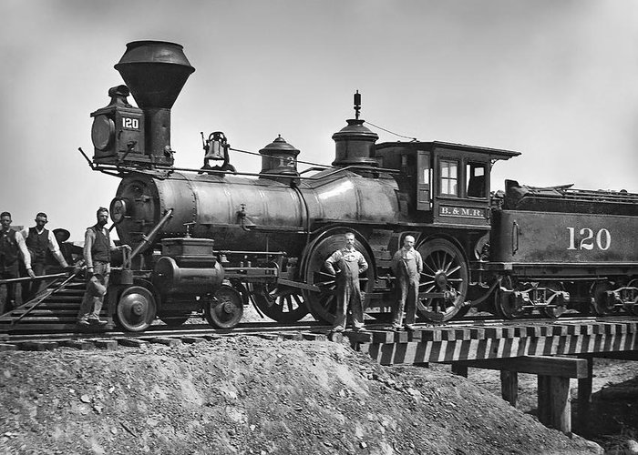 Locomotive Greeting Card featuring the photograph No. 120 Early Railroad Locomotive by Daniel Hagerman