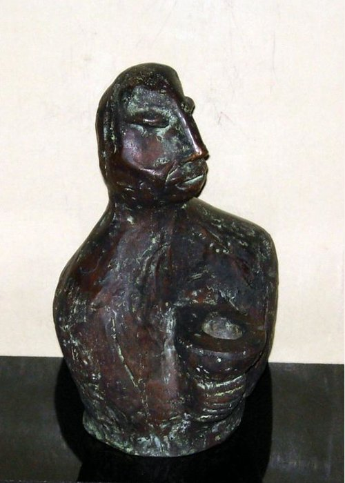 Male Torso Greeting Card featuring the sculpture No. 245 by Vijayan Kannampilly