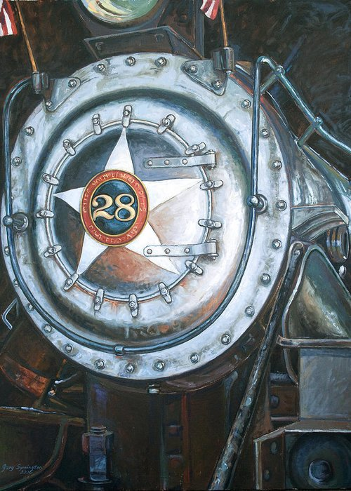 Train Greeting Card featuring the painting No. 28 In The Shed by Gary Symington