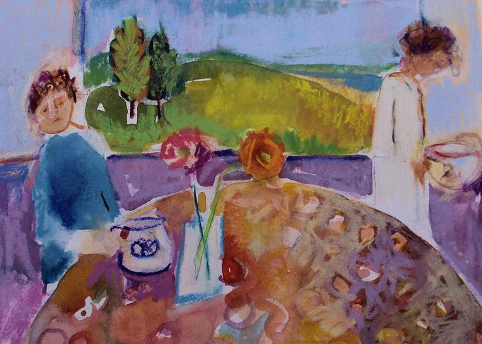Morning Greeting Card featuring the painting No Conversation by Diane Ursin