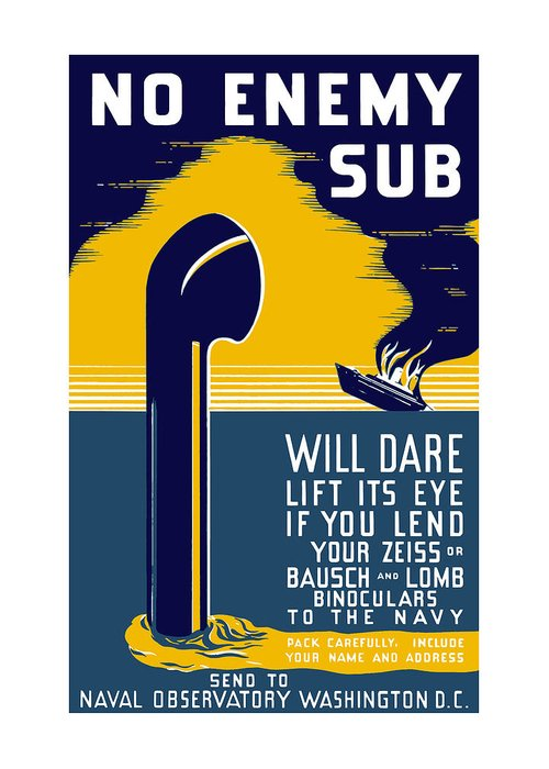 Wwii Greeting Card featuring the painting No Enemy Sub Will Dare Lift Its Eye by War Is Hell Store