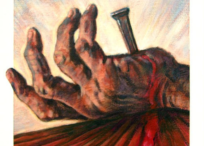 Christ Greeting Card featuring the painting No Greater Love by John Lautermilch