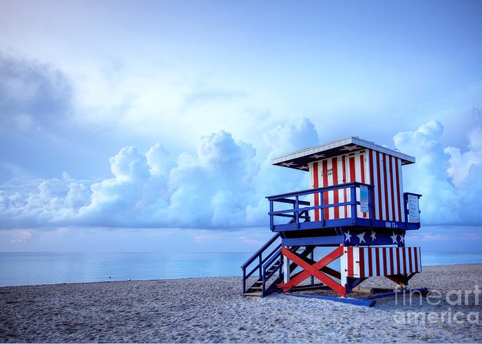 Miami Greeting Card featuring the photograph No Lifeguard On Duty by Martin Williams