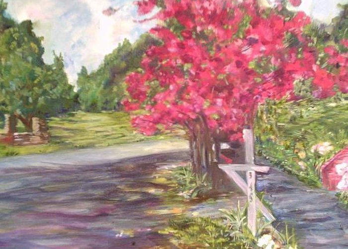 Landscape Greeting Card featuring the painting No Mail Today by Impressionist FineArtist Tucker Demps Collection