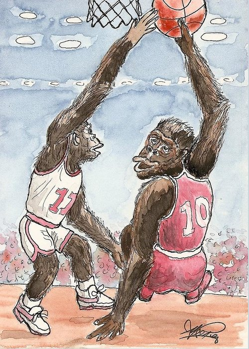 Basketbal Greeting Card featuring the painting No No No by George I Perez