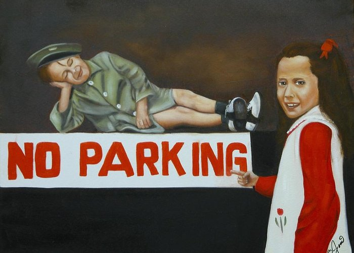 Child Greeting Card featuring the painting No Parking by Joni McPherson