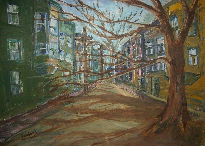 Landscape Houses Street Trees Greeting Card featuring the painting No Title by Joseph Sandora Jr