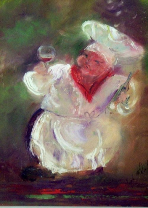 Chef With Wine Greeting Card featuring the painting No Wine Before Its Time by Lynda McDonald