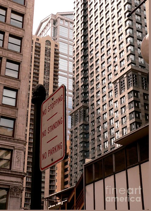 Chicago Illinois Greeting Card featuring the photograph No Zone by David Bearden