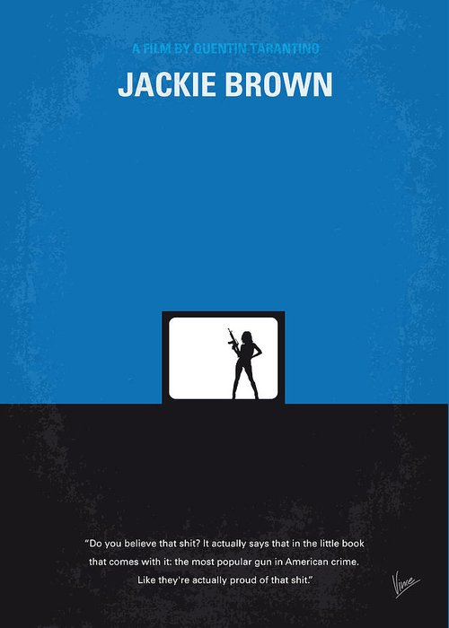 Jackie Greeting Card featuring the digital art No044 My Jackie Brown Minimal Movie Poster by Chungkong Art