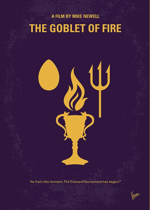 Goblet Greeting Card featuring the digital art No101-4 My Hp - Goblet Of Fire Minimal Movie Poster by Chungkong Art