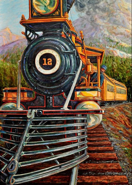 Train Greeting Card featuring the painting No.12 In The Mountains by Gary Symington