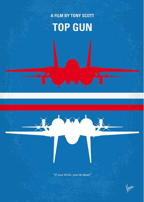 Top Greeting Card featuring the digital art No128 My Top Gun Minimal Movie Poster by Chungkong Art