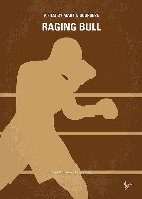 Raging Greeting Card featuring the digital art No174 My Raging Bull Minimal Movie Poster by Chungkong Art