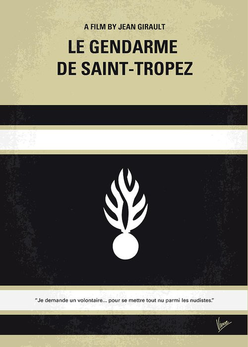 Le Greeting Card featuring the digital art No186 My Le Gendarme De Saint-tropez Minimal Movie Poster by Chungkong Art