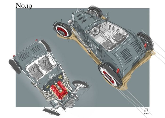 Hot Rod Greeting Card featuring the drawing No.19 by Jeremy Lacy