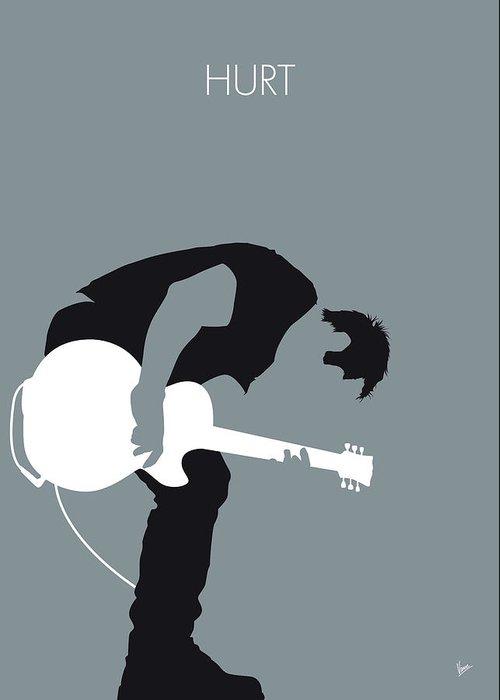 Nine Greeting Card featuring the digital art No197 My Nine Inch Nails Minimal Music Poster by Chungkong Art