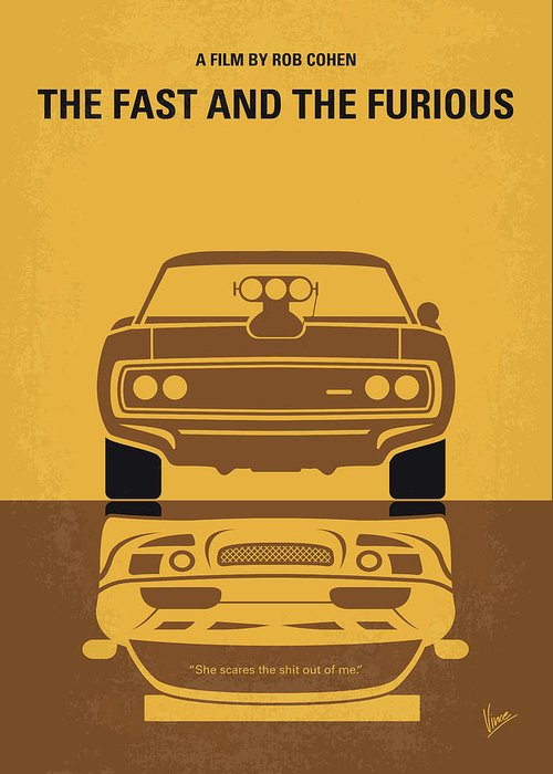 Fast Greeting Card featuring the digital art No207 My The Fast And The Furious Minimal Movie Poster by Chungkong Art