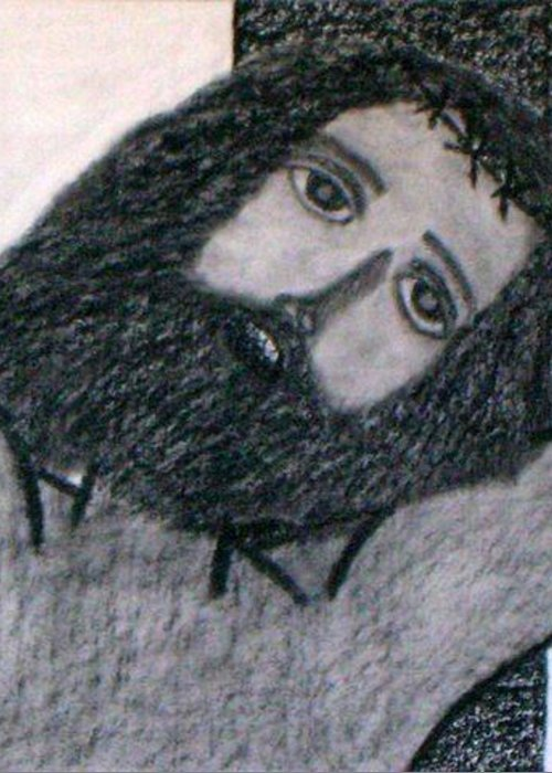 Christ Greeting Card featuring the drawing No.309 by Vijayan Kannampilly