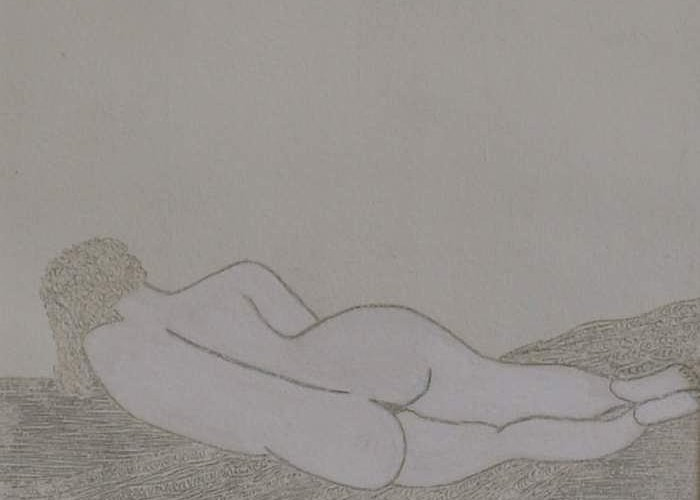 Nude Study; Silver Point Greeting Card featuring the drawing No.322 by Vijayan Kannampilly