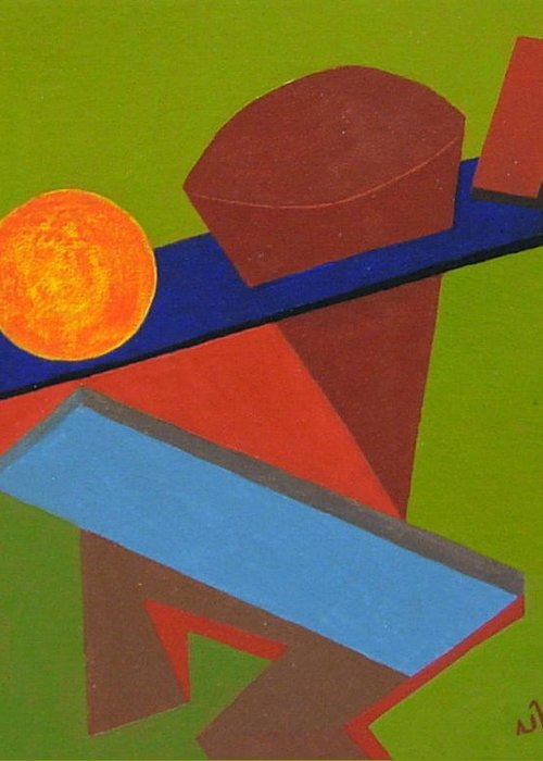 Abstract Greeting Card featuring the painting No.338 by Vijayan Kannampilly
