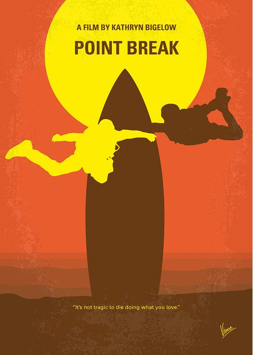 Point Greeting Card featuring the digital art No455 My Point Break minimal movie poster by Chungkong Art