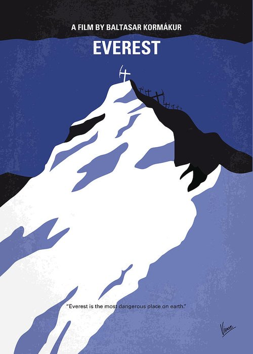 Everest Greeting Card featuring the digital art No492 My Everest Minimal Movie Poster by Chungkong Art