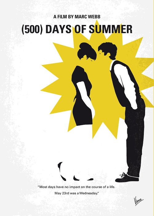 No500 my 500 days of summer minimal movie poster greeting card for 500 greeting card featuring the digital art no500 my 500 days of summer minimal movie poster m4hsunfo