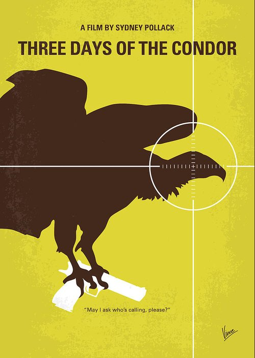 Three Greeting Card featuring the digital art No659 My Three Days Of The Condor Minimal Movie Poster by Chungkong Art