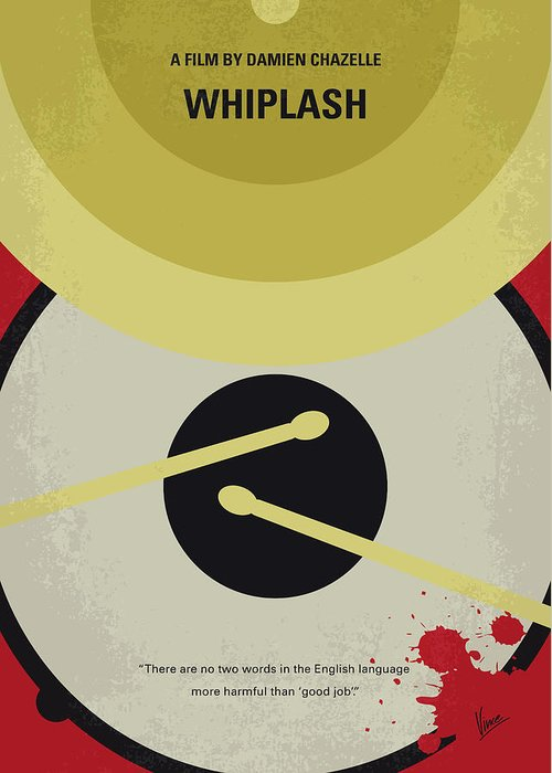 Whiplash Greeting Card featuring the digital art No761 My Whiplash Minimal Movie Poster by Chungkong Art