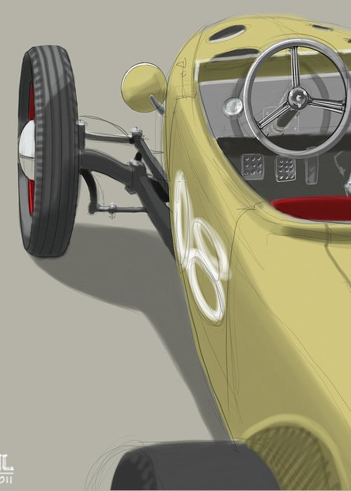 Hot Rod Greeting Card featuring the drawing No.8 by Jeremy Lacy