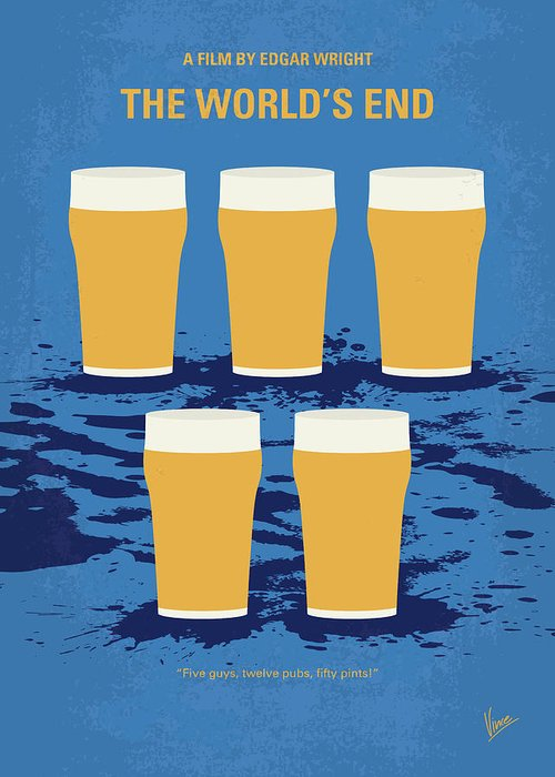 The Greeting Card featuring the digital art No843 My The Worlds End Minimal Movie Poster by Chungkong Art