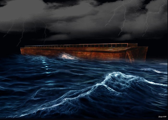 Ship Greeting Card featuring the digital art Noah Ark by Evelyn Patrick