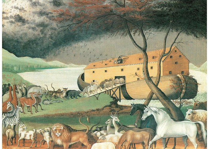 Edward Hicks Greeting Card featuring the painting Noah's Ark by Edward Hicks