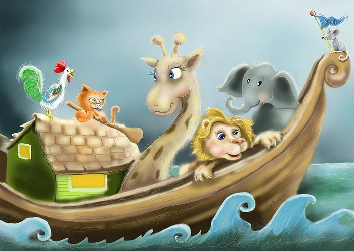 Noah's Ark Illustration Greeting Card featuring the drawing Noah's Ark by Hank Nunes