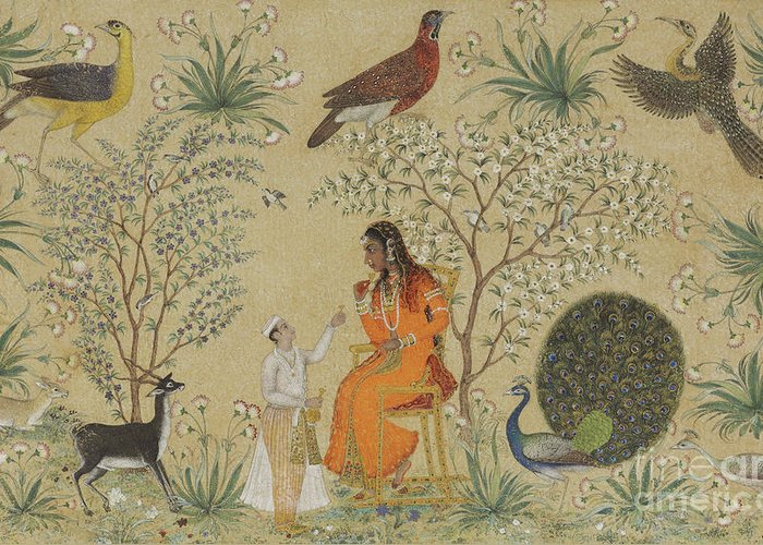 Indian Greeting Card featuring the painting Noble Woman In A Garden by Mughal School