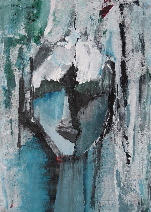 Abstract Acrylic Blue Darkestartist Nobody Portrait Darkest Artist Face Greeting Card featuring the painting Nobody by Darkest Artist